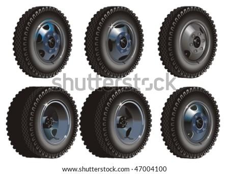 Vector Truck wheels set - stock vector