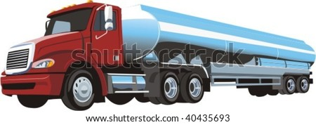 vector truck with cistern - stock vector