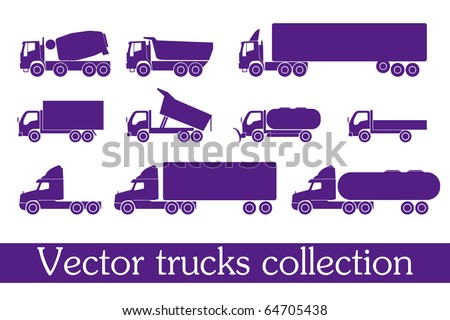 vector trucks collection - stock vector