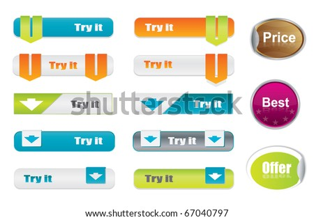 Vector try it buttons and stickers, website elements