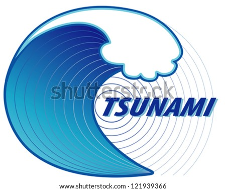 vector - Tsunami. Giant tsunami wave crest, ocean earthquake epicenter, white background. EPS8 includes radial gradient. - stock vector