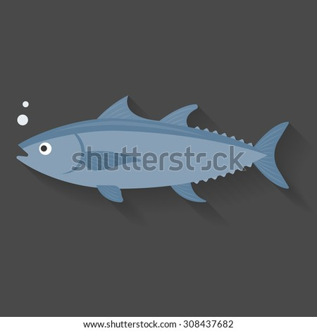 Vector tuna, flat design with shadow