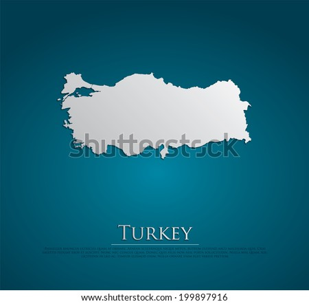 vector Turkey Map card paper on blue background, high detailed