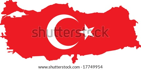 Vector Turkish map with flag. - stock vector