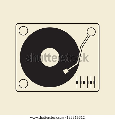 vector turntable dj player icon - stock vector