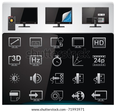 Vector TV features and specifications icon set. Part 2 (bw, minimalistic) - stock vector