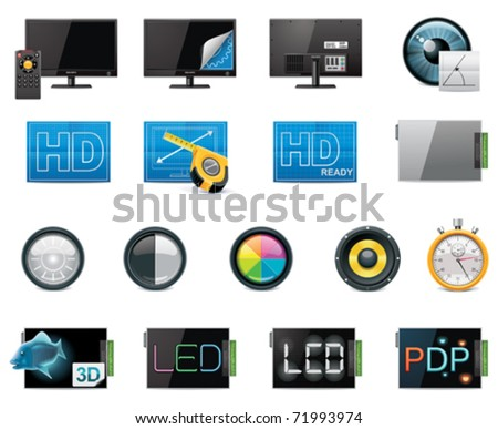 Vector TV features and specifications icon set. Part 1 (color, detailed) - stock vector