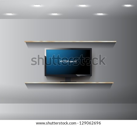 Vector TV on wall in modern room, With wood shelf design - stock vector