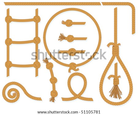 Vector twisted rope collection- isolated  design elements:gallows, ladder, cable, lasso, knots, loop, spiral etc..MORE ROPES SEE AT MY GALLERY - stock vector