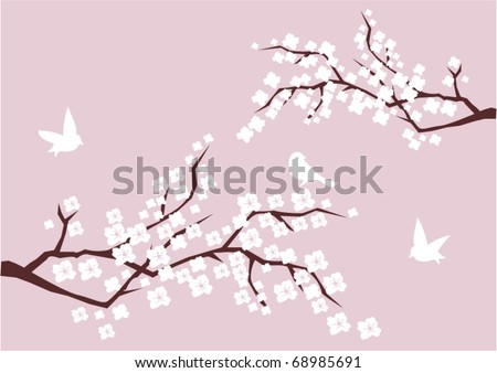 vector two branches in blossom with white birds - stock vector