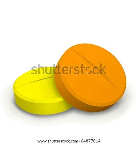 vector two colorful pills - stock vector