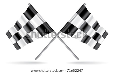 Vector Two Crossed Checkered Flags - stock vector