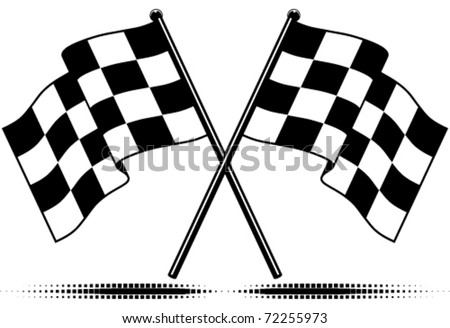 Vector two crossed checkered flags. Black and white design (gradient free).  Optional ground shadow. - stock vector
