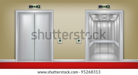 Vector two 3d elevator background. Part of set. - stock vector
