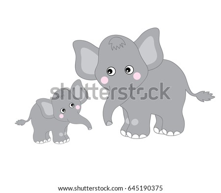 vector two grey cute elephants looking stock vector royalty free