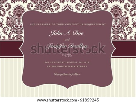 Vector two-tone background and frame with sample text. Perfect as invitation or announcement. Pattern is included as seamless swatch. All pieces are separate. Easy to change colors. - stock vector