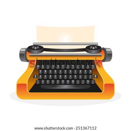 Vector typewriter illustration - stock vector