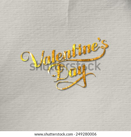 vector typographic illustration of golden foil St. Valentines Day retro label. holiday lettering composition  - stock vector