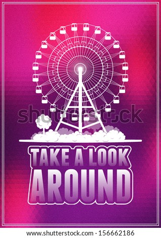Vector typographic poster in retro style. White silhouettes of a city and a ferris wheel. - stock vector
