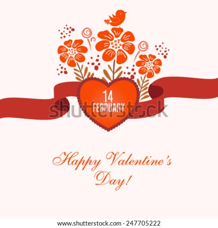 Vector typography Happy Valentine's Day illustration. - stock vector
