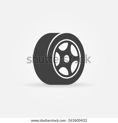 Vector tyre symbol or icon - black car tire logo - stock vector
