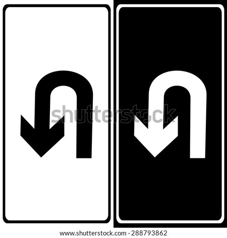 Vector U-Turn Roadsign with turn symbol isolated on white background, illustration EPS10 - stock vector
