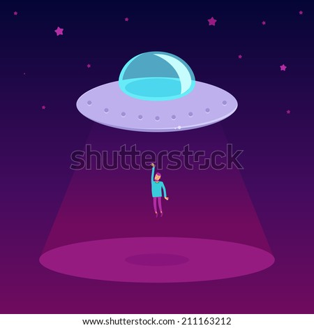 Vector ufo cartoon illustration in flat style - - flying saucer kidnapping a man - stock vector