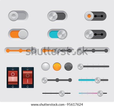 Vector UI buttons set - stock vector