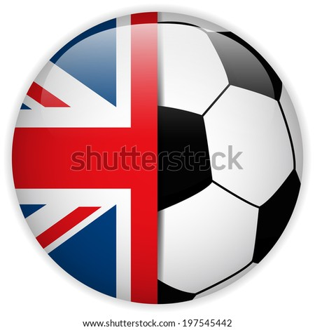 Vector - UK Flag with Soccer Ball Background - stock vector