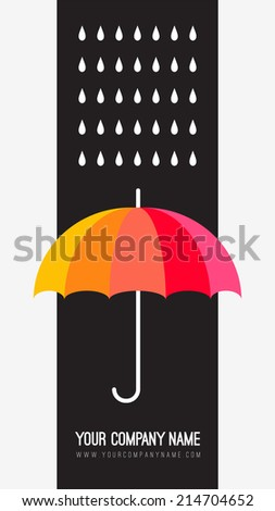 Vector umbrella and rain drops. Abstract weather design. Black and white creative concept. Vector abstract hand drawn background. Colorful banner template. Vector illustration. Rainbow color umbrella. - stock vector