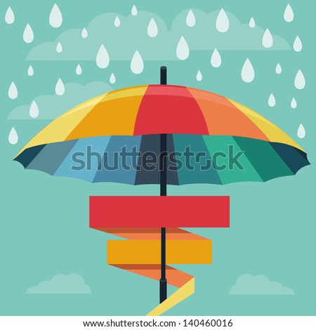 Vector umbrella and rain drops in rainbow colors - abstract weather concept - stock vector