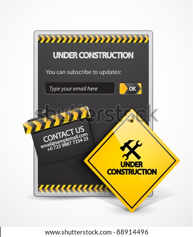 Vector under construction background or icon - stock vector