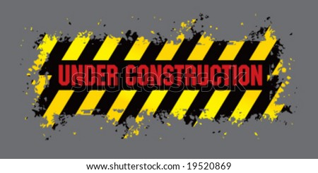 Vector under construction sign banner - stock vector
