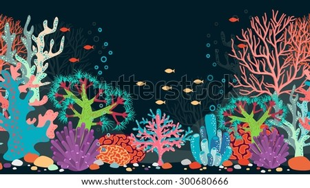 Vector underwater scene. Ocean and coral, reef and water, fish and nature, animal and bubble - stock vector
