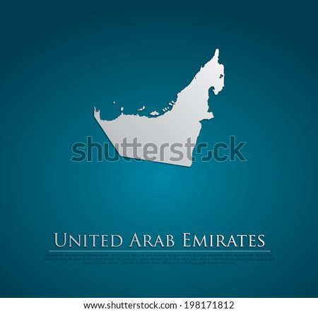vector United Arab Emirates Map card paper on blue background, high detailed - stock vector