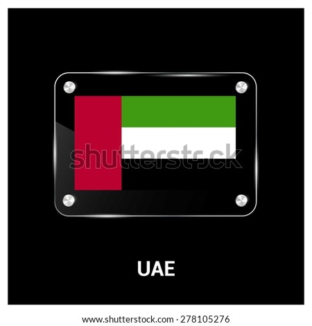 Vector United arab Emirates UAE Flag glass plate with metal holders - Country name label in bottom - stock vector