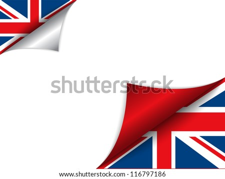 Vector - United Kingdom Country Flag Turning Page - stock vector