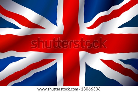 VECTOR United Kingdom flag waving in the wind. (Only gradient used, easy to edit ) - stock vector
