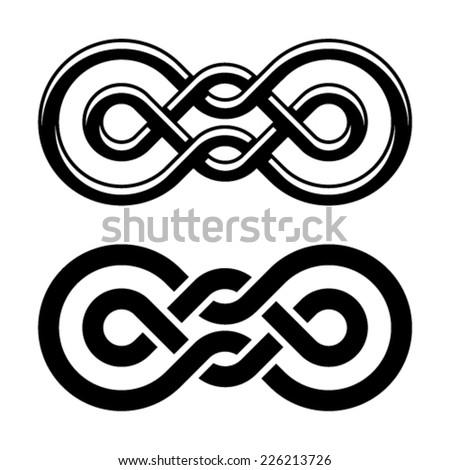 vector unity knot black white symbol - stock vector