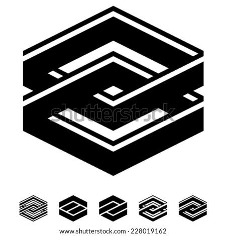vector unity square black white symbols - stock vector