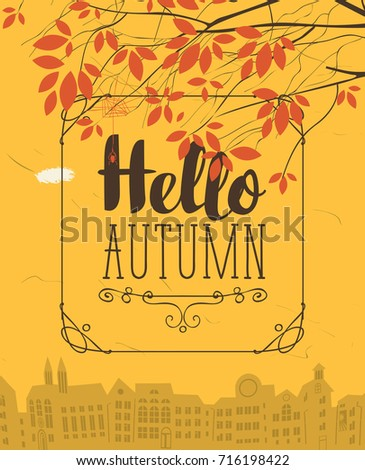 Vector Urban Landscape In Retro Style On The Fall Theme With The Words Hello  Autumn And