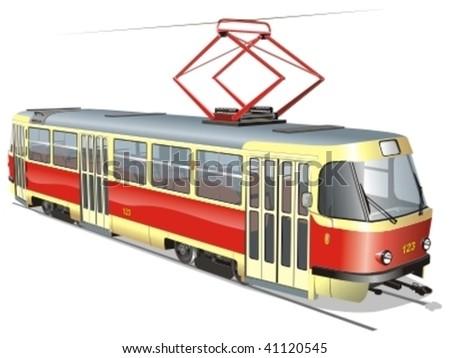Vector urban tram. More vector transportation illustrations see in my portfolio - stock vector