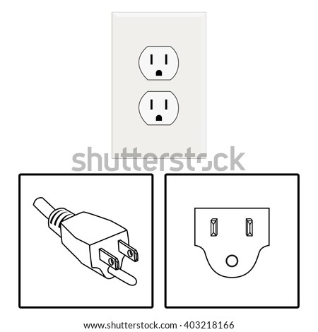 Vector. US socket and plug. Icon. Three pin socket isolated illustration. - stock vector