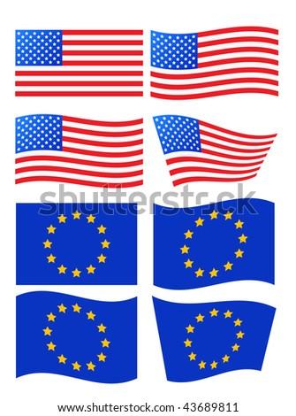 vector usa and european flags - stock vector