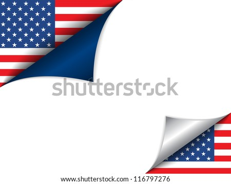 Vector - USA Country Flag Turning Page - stock vector