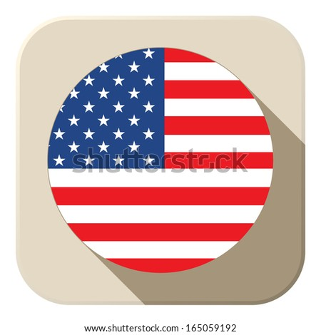 Vector - USA Flag Button Icon Modern - stock vector