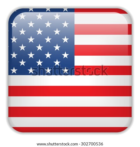Vector - USA Flag Smartphone Application Square Buttons - stock vector