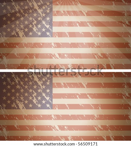 Vector USA flags with grunge effect, one plus sunburst effect, more lighter - stock vector