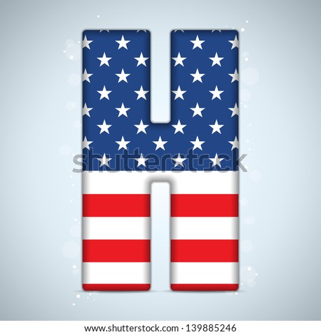 Vector - USA Independence Day Alphabet Letters - stock vector