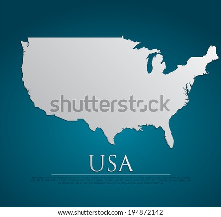 vector USA Map card paper on blue background, high detailed